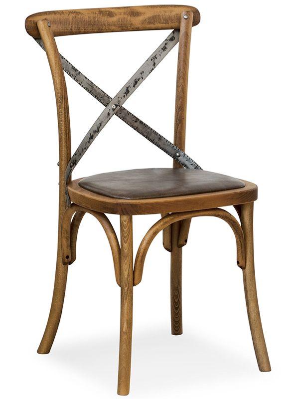 SE06 Chaise viennoise en bois avec dossier croisé en fer, disponible avec différentes assises  # Chaise En Fer Forgé Et Bois