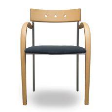 Equinox - Sedia Tonon di design, con struttura in legno e metallo, sedile imbottito con rivestimento in tessuto