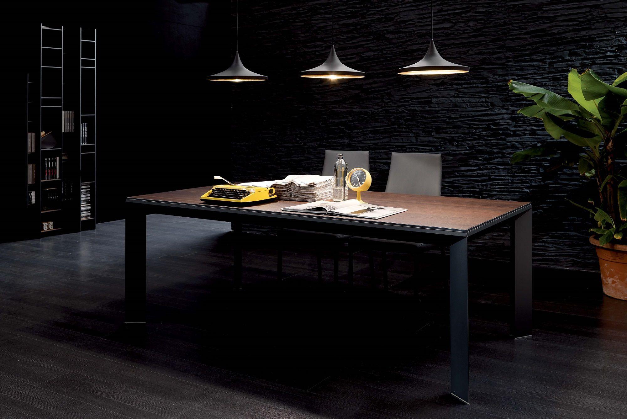 Metrò l tavolo moderno in metallo piano in legno allungabile