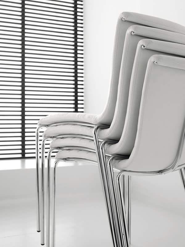 zelig ts stapelstuhl midj aus metall sitz mit leder kunstleder oder stoff bezogen sediarreda. Black Bedroom Furniture Sets. Home Design Ideas