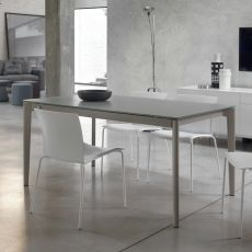 Doto - Design table Bontempi Casa, 140(200) x 90 cm extendable, in metal with top in glass, available in several colours