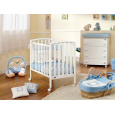 City - Pali wooden cot with mattress, bed slat base adjustable in height, available in several colours