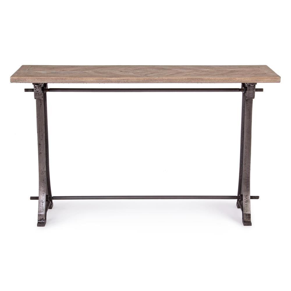 accra consolle console urban style en m tal et plateau en bois d 39 acacia marquet 130x40 cm. Black Bedroom Furniture Sets. Home Design Ideas