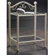 Romanza D - Iron bedside table with glass tops, multifaceted pommels, available in several colours