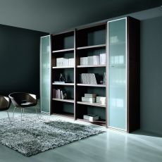 Libreria 02 - Office bookcase height 215 cm, with 5 shelves and two glass doors, in laminate available in different finishes