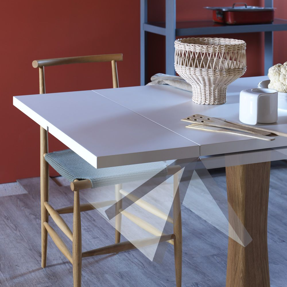 Gualtiero mesa miniforms de madera y metal extensible - Mesa extensible de madera ...