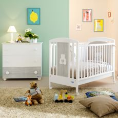 Gaia - Pali wooden cot with drawer, bed slat base adjustable in height, available in several colours