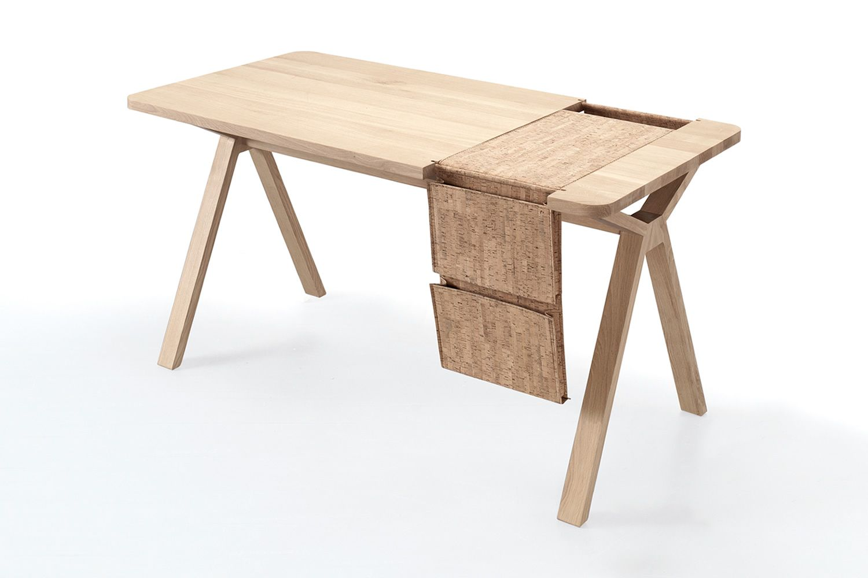 Bolsa scrivania di design in legno con bisaccia portaoggetti