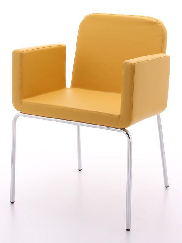 Axial chaise midj en m tal chrom assise rembourr et for Chaise cuir jaune