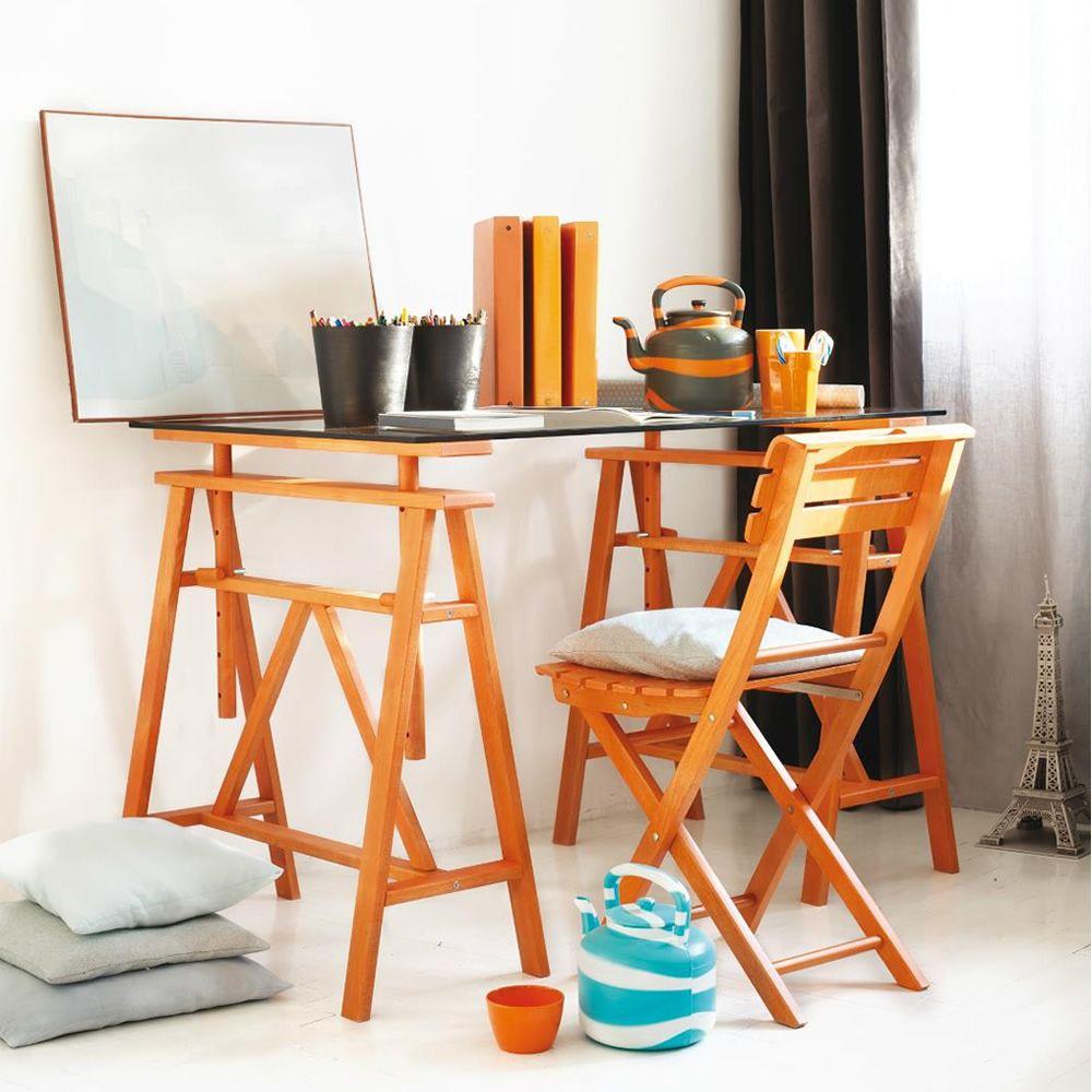 Paride escritorio dos caballetes de madera de haya maciza for Caballetes para mesas