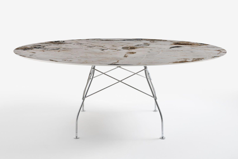Kartell Tavoli Da Esterno.Glossy Marble Tavolo Kartell Di Design In Metallo Piano Ovale