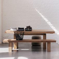 Double-TA - Tavolo Ethnicraft in legno teak, piano 200 x 100 cm allungabile