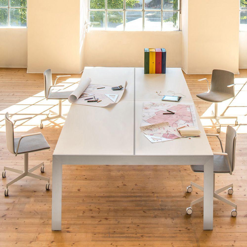 matrix desk schreibtisch oder besprechungstisch aus aluminim und laminatplatte in. Black Bedroom Furniture Sets. Home Design Ideas