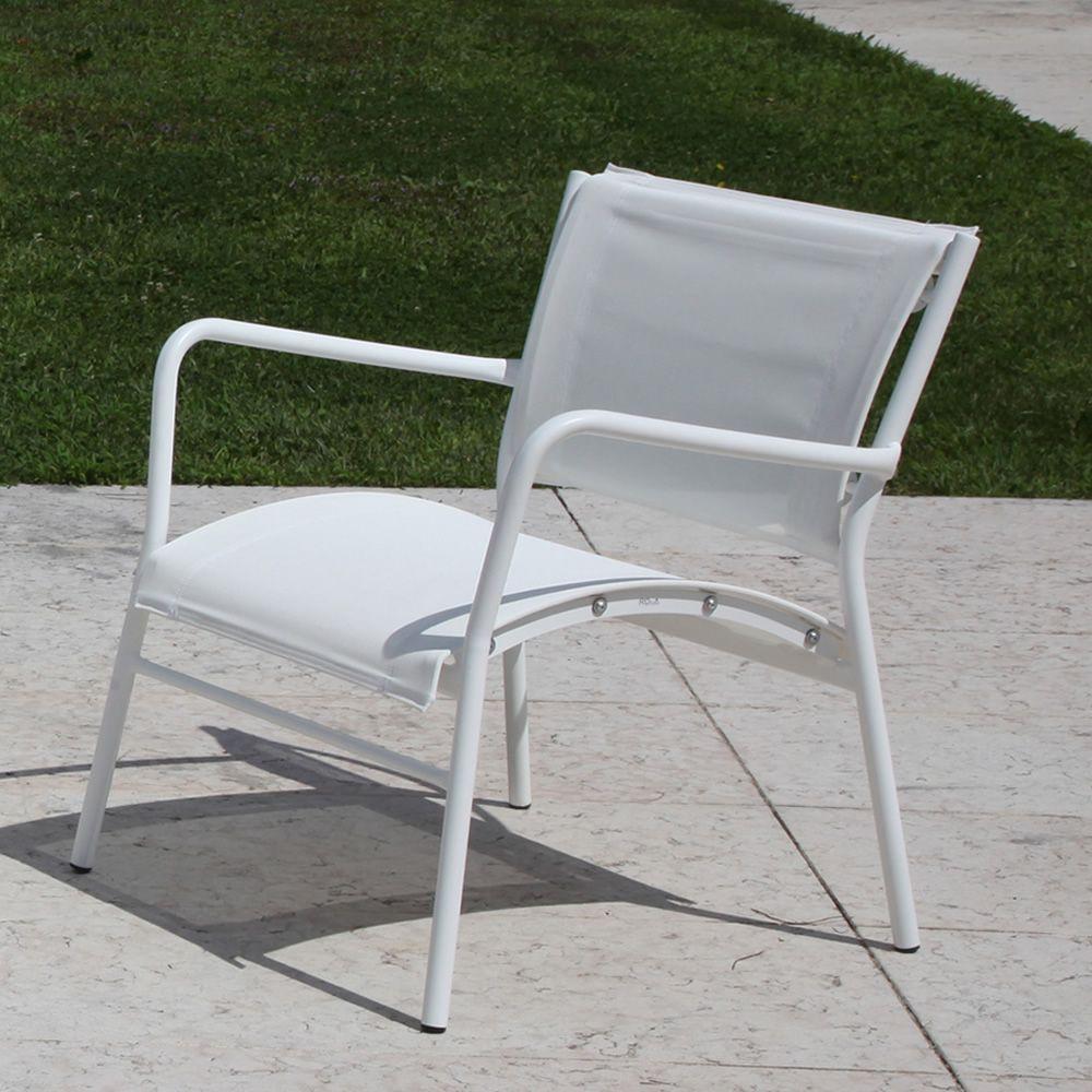 Rig42po fauteuil de jardin en m tal et textil ne - Fauteuil pour jardin ...
