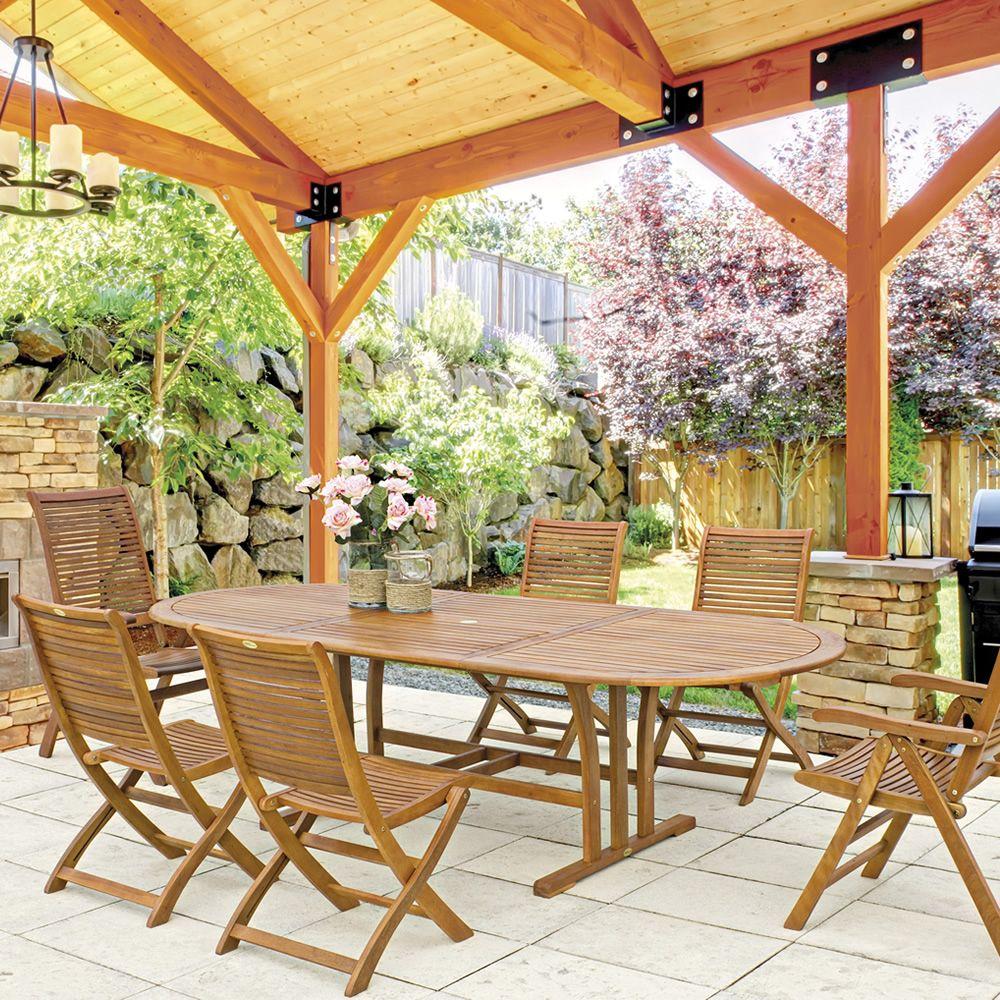 Tortuga t tavolo allungabile in legno balau piano ovale for Tavolo in legno per esterno