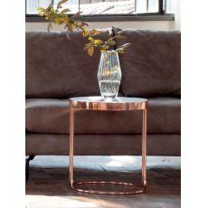 6035 Cora | Tavolino Tonin Casa in legno e metallo, diverse finiture, piano tondo 40 cm