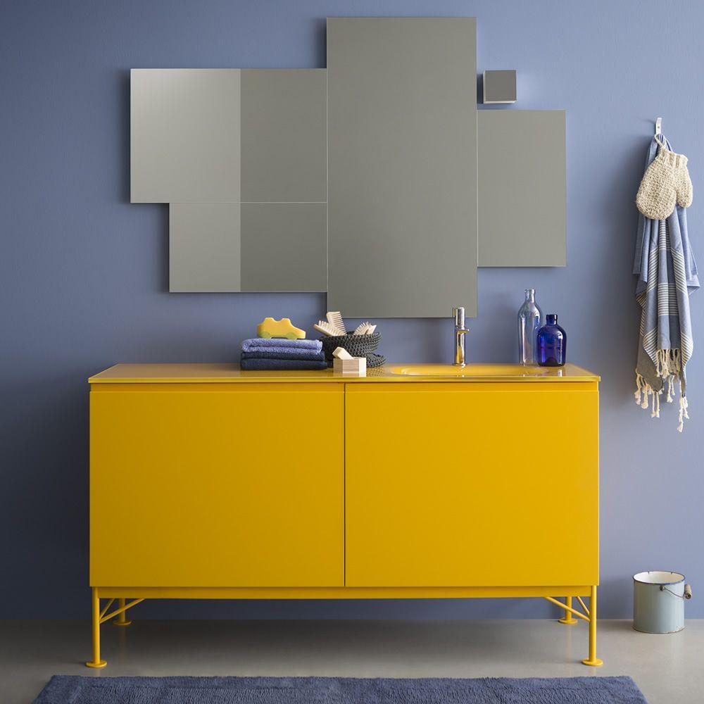 Memento C - Meuble de salle de bain avec plan en cristal, 2 tiroirs ...