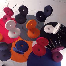 Sedi'ola - Sedia di design Adrenalina, in metallo, con seduta imbottita e rivestita in pelle o diversi tessuti di vari colori