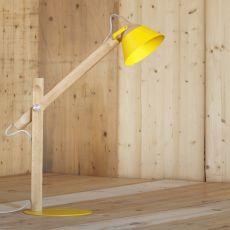 Slope T - Tischlampe Miniforms, aus Holz und Metall, höhenverstellbar