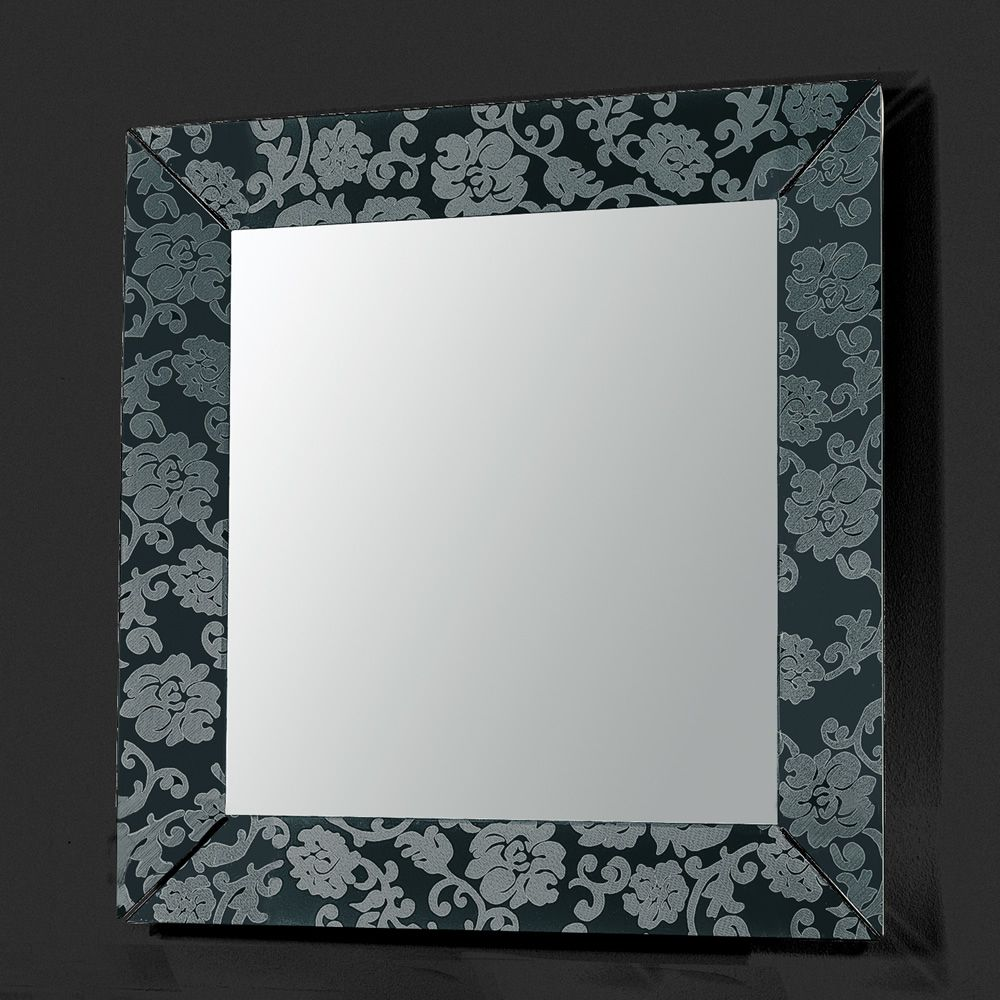 Frame Q | Mirror with frame in black methacrylate, with laser engraving  damask pattern
