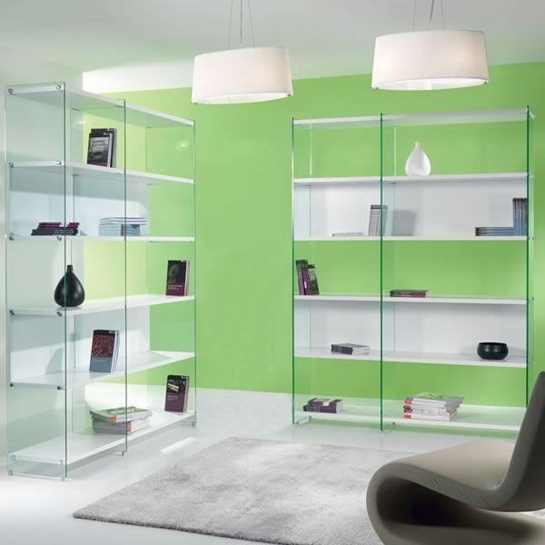 byblos biblioth que en verre transparent avec des tag res sediarreda. Black Bedroom Furniture Sets. Home Design Ideas