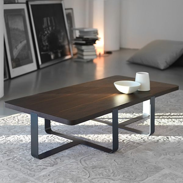 Genova Coffee Table: Inn2: Small Design Coffee Table In Metal, With Wooden Top