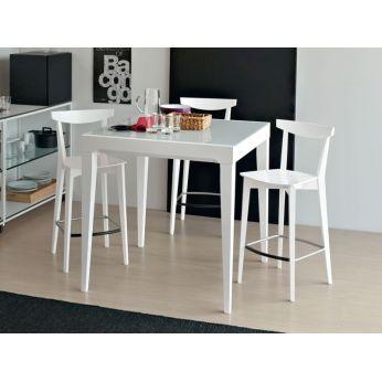 702 2h table haute en bois rallonge 90x90 cm plan verre - Table 90x90 avec rallonge ...