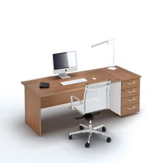 Idea Panel 02 - Scrivania operativa per ufficio con cassettiera, in laminato, disponibile in diverse dimensioni e finiture