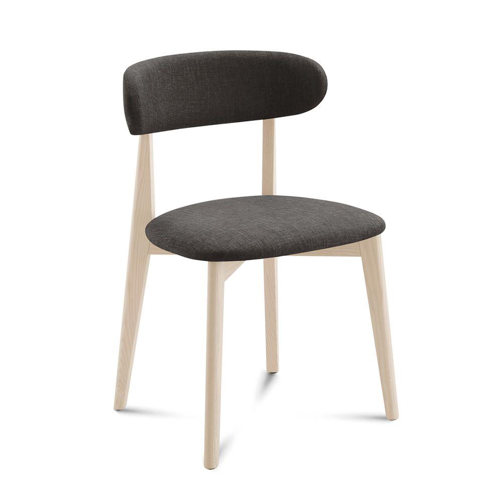 Anja chaise domitalia en bois assise et dossier for Chaise en tissu de couleur