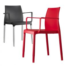Chloè P 2637 - Modern aluminium chair with armrests, technopolimery seat, stackable, several colours