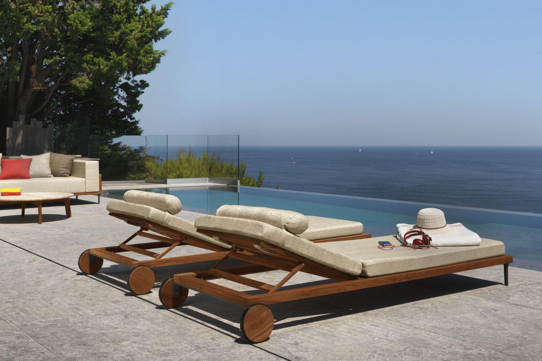 cleo l bain de soleil moderne en teak dossier r glable avec coussin d houssable sediarreda. Black Bedroom Furniture Sets. Home Design Ideas