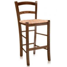 199 - B PROMO - Sgabello rustico in legno, sedile in paglia, altezza 64 cm