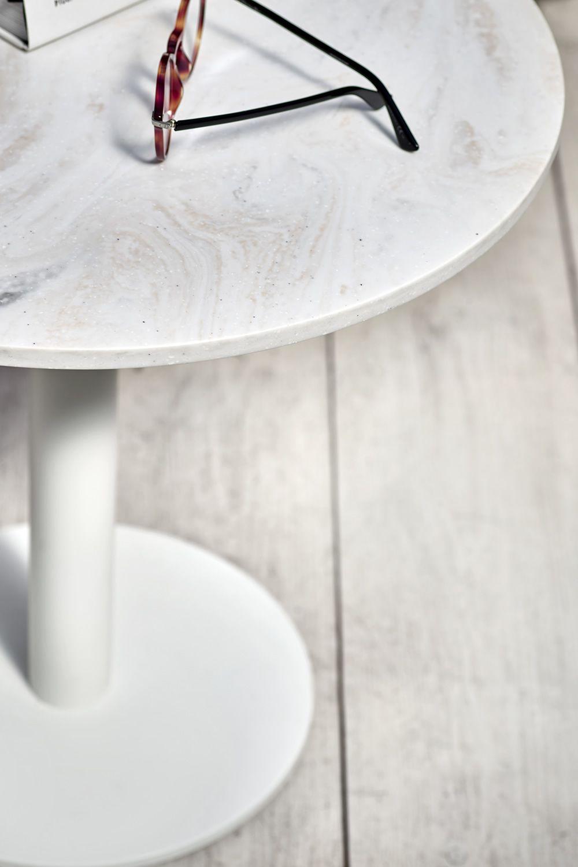 Round - Tavolino rotondo Infiniti in metallo, piano in laminato ...