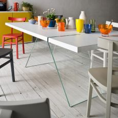 Alceo - Fixed design table, 160x90 cm, with glass legs, top in different materials and finishes