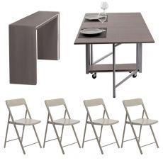 Archimede Zeta set - Set consolle con tavolo pieghevole 170x90 cm e 6 sedie, disponibile in diversi colori