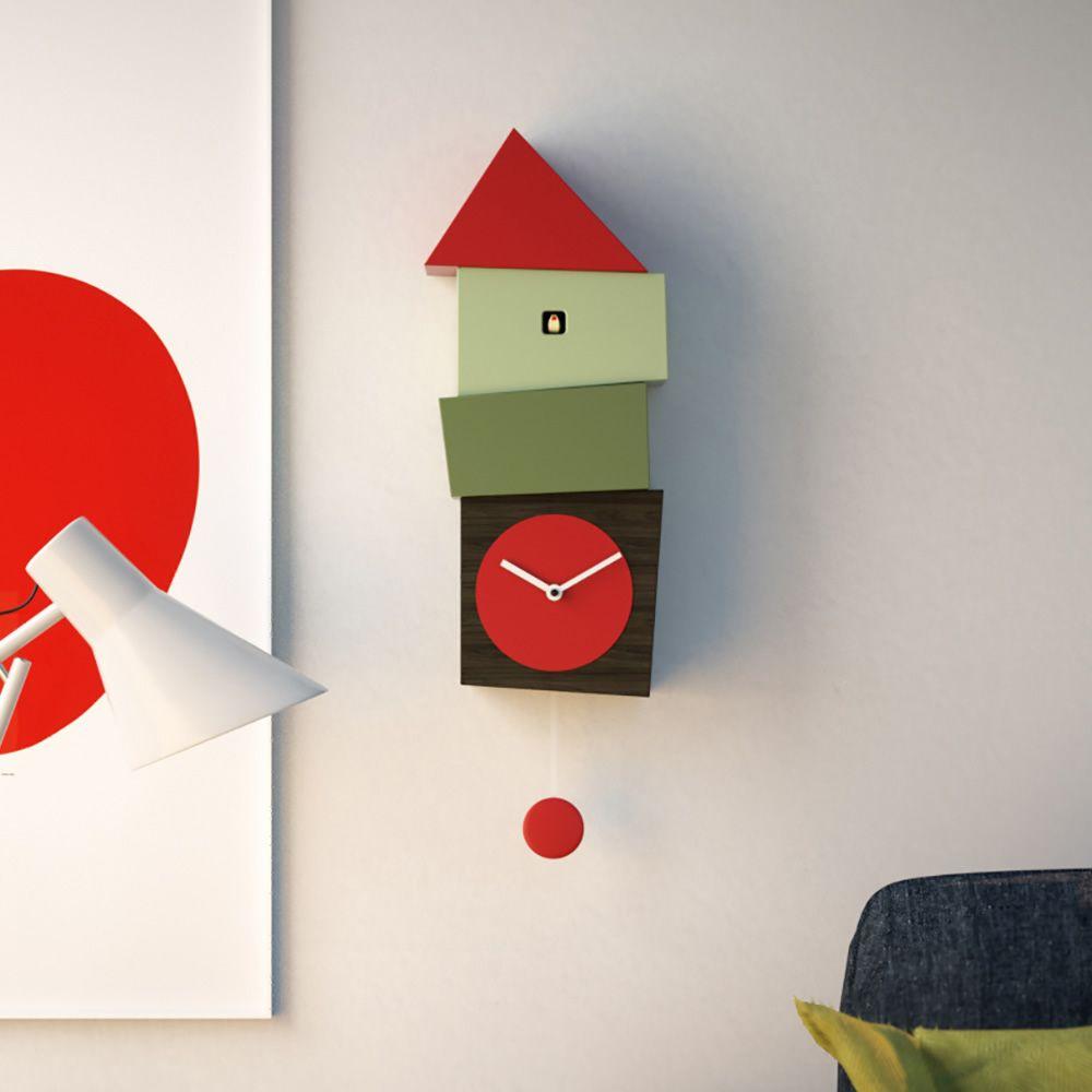 crooked horloge coucou murale en bois avec balancier. Black Bedroom Furniture Sets. Home Design Ideas