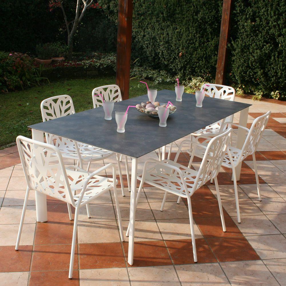 rig87 tisch aus aluminium platte aus hpl 185 x 95 cm f r garten sediarreda. Black Bedroom Furniture Sets. Home Design Ideas