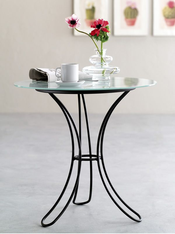 fiocco t tisch aus eisen mit glasplatte von durchmesser 60 cm h he 58 cm verschiedene farbe. Black Bedroom Furniture Sets. Home Design Ideas