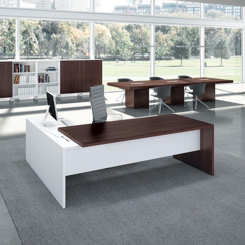 T desk 02 scrivania da ufficio con penisola e for Mobili ufficio wenge