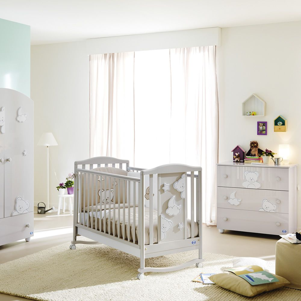 Georgia lit b b pali en bois avec tiroir sommier lattes r glable en haut - Lit bebe hauteur reglable ...