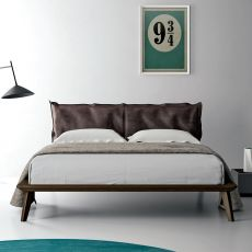 Morgan - Dall'Agnese double bed with wooden frame, padded headboard, different sizes and finishes available
