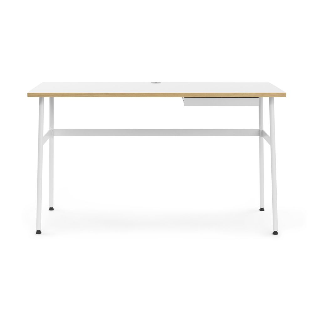 Journal Writing Desk Made Of White Varnished Steel Laminate Top With Oak Edge