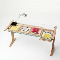 Leo - Valsecchi wooden writing desk, glass top 140 x 60 cm, with drawers, different finishes available