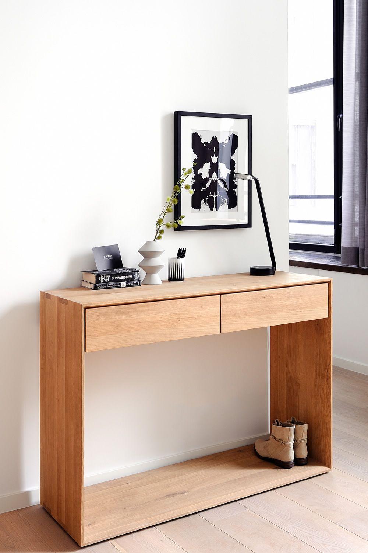 nordic c konsole ethnicraft aus holz mit 2 schubladen in. Black Bedroom Furniture Sets. Home Design Ideas