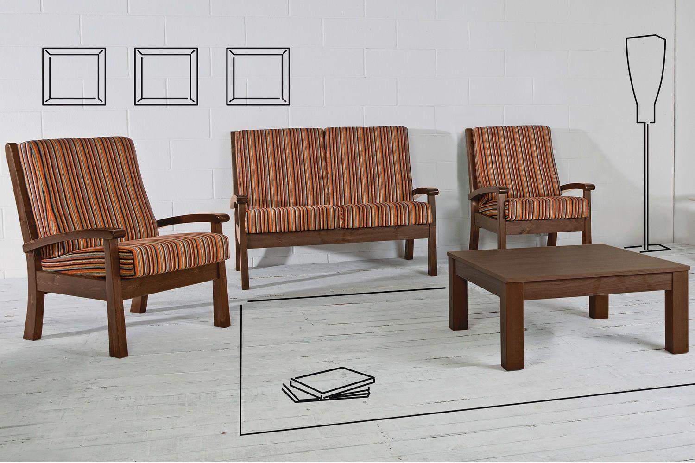 LAR7 Poltrona - Poltrona rustica in legno, con cuscini ...