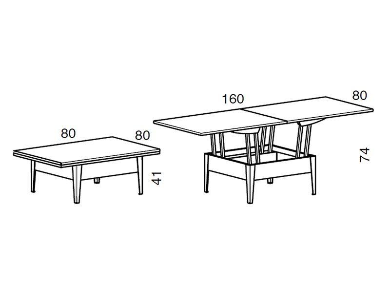 Ulisse - Tavolino trasformabile in tavolo da pranzo, in legno, 80 ...