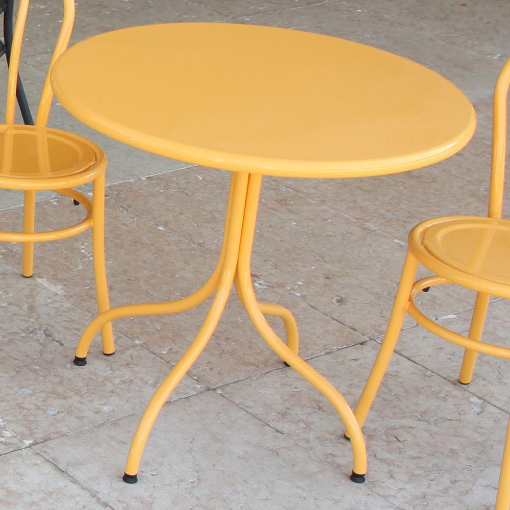 rig mesa redonda de metal lacado color amarillo para exterior