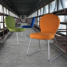 B4 - Designer chair Adrenalina, in metal, with seat upholstered in different fabrics of many colors
