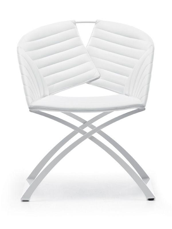 Portofino stuhl midj aus metall sitz mit leder for Design stuhl metall