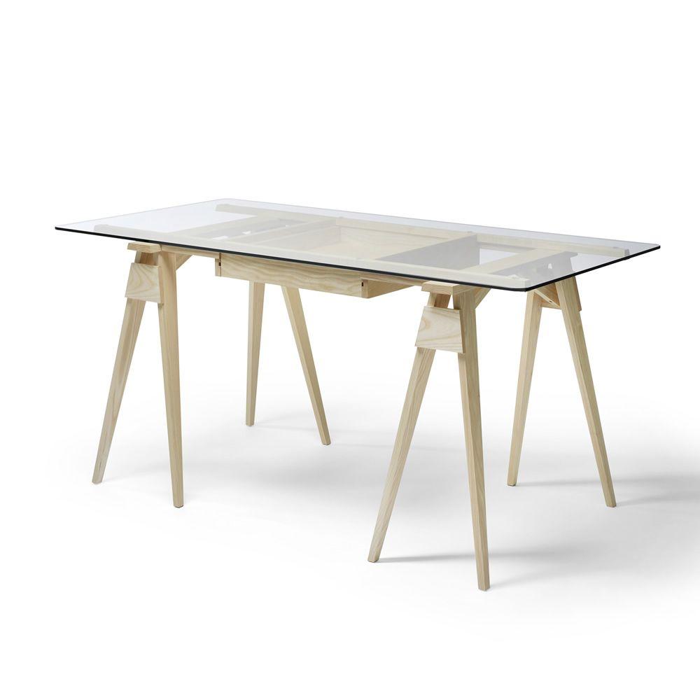Arco - Scrivania in legno, piano in vetro 150 x 75 cm, con cassetto ...